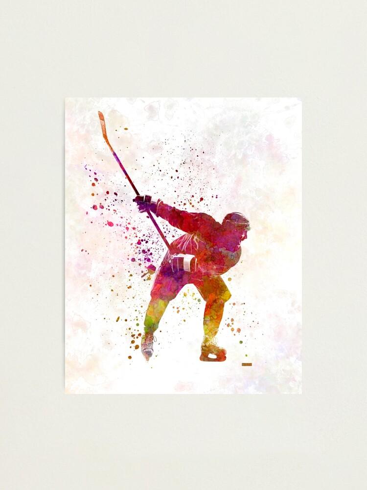 sports photo poster art Encadrée imprimer glace-joueur de hockey patinage sur la glace