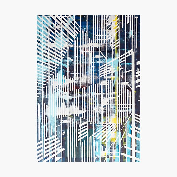 Lines Blue Photographic Print