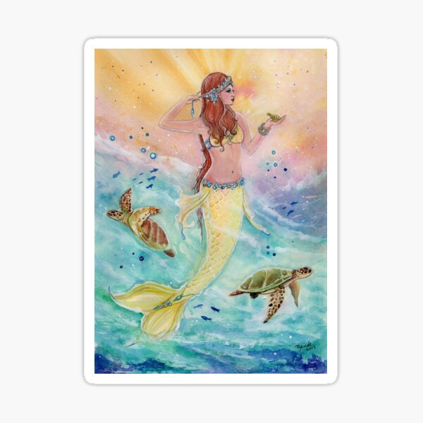 Sunshine sea mermaid with sea turtles by Renee Lavoie Sticker