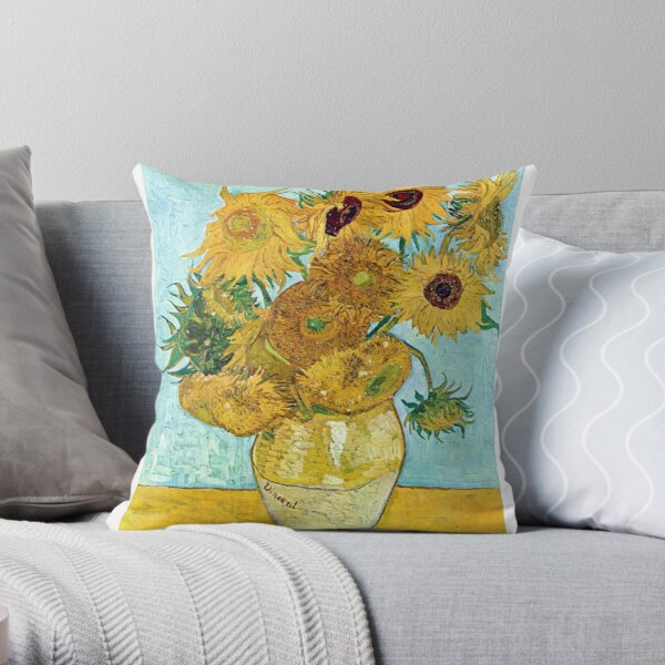 Vincent van Gogh Still Life Vase with Twelve Sunflowers Throw Pillow