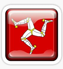 MANX FLAG, Badge, Isle of Man, MANX, LEGS, Button, Brattagh Vannin, Triskelion, Ny tree cassyn Sticker