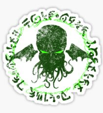 In his house at R'lyeh dead Cthulhu waits dreaming GREEN Sticker