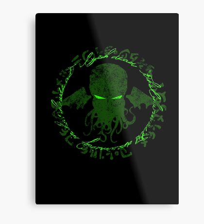 In his house at R'lyeh dead Cthulhu waits dreaming GREEN Metal Print