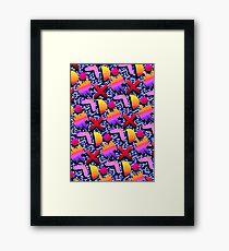 1980s Dark Blue Print Framed Print