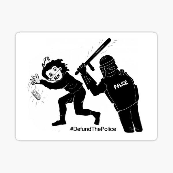Defund The Police Black Lives Matter Protester Digital Art Sticker