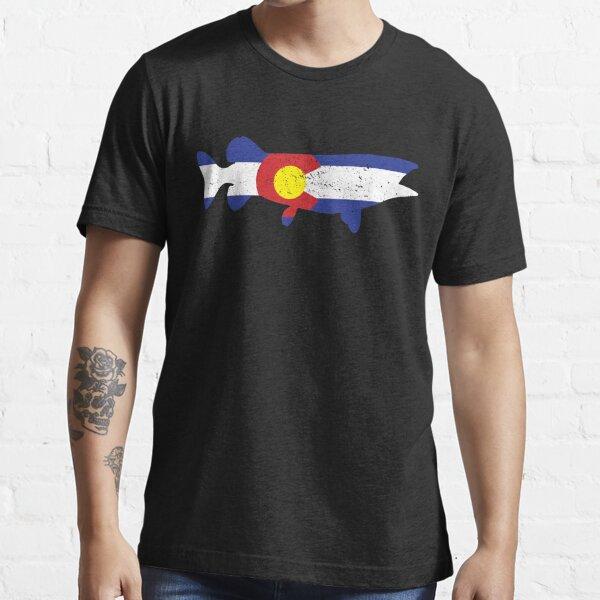 Musky Fish Colorado T Shirt Musky Colorado Flag Fishing Tshirt Musky Fish Colorado Flag Shirt Gift Essential T-Shirt
