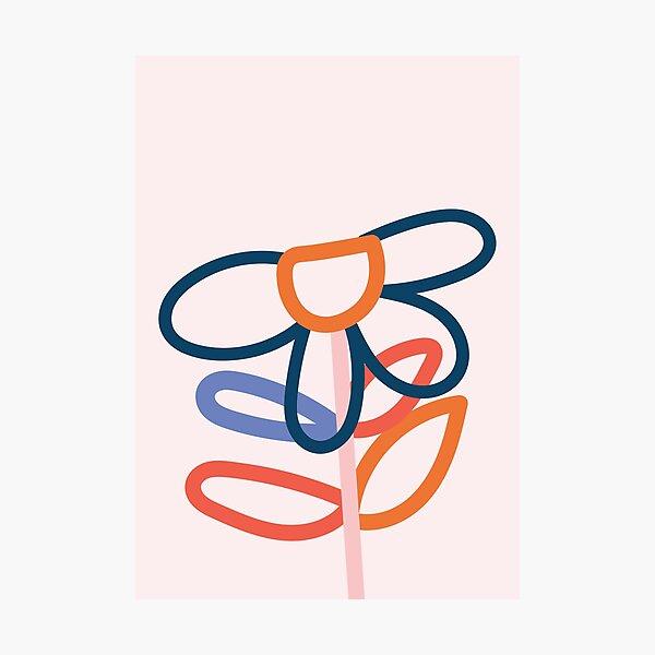 Line Art Flower Leaf, Nursery Photographic Print
