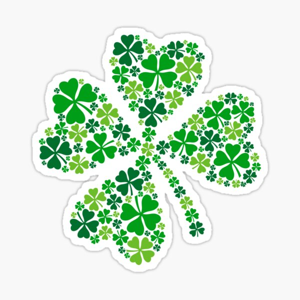 lucky four-leaf clover, green shamrock  Sticker