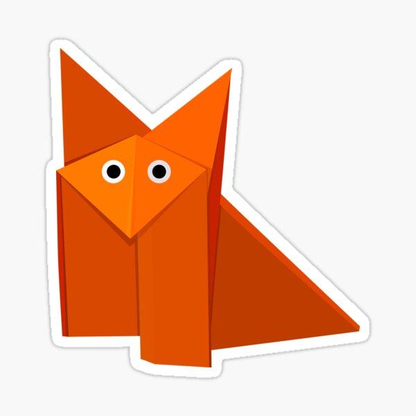 Yellow Geometric Cute Origami Fox Sticker
