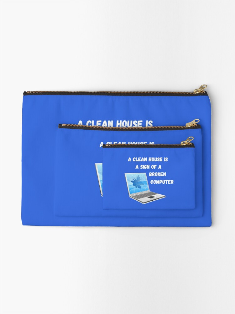 Alternate view of Broken Computer Cleaning Lady Gift Humor Zipper Pouch