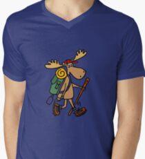 Camiseta para hombre de cuello en v Funny Cool Moose Hiker