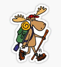 Funny Cool Moose Hiker Sticker