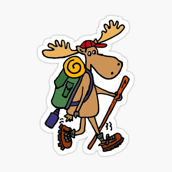 Divertido Cool Moose Hiker Pegatina