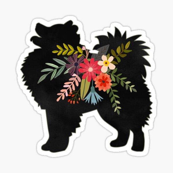 American Eskimo Dog Breed Boho Floral Silhouette Sticker