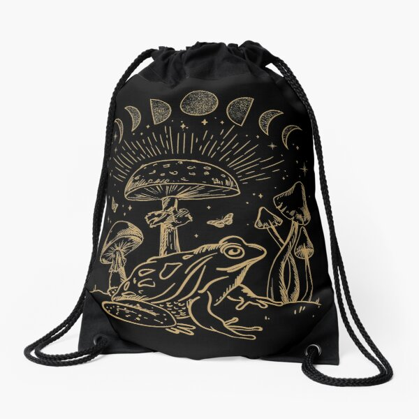 Frog Under Mushroom Dark Academia Cottagecore Aesthetic Goth Drawstring Bag