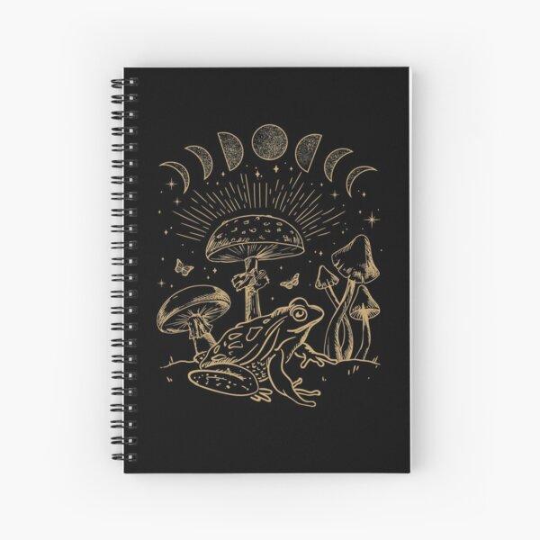 Frog Under Mushroom Dark Academia Cottagecore Aesthetic Goth Spiral Notebook
