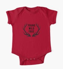 young, wild, free, text design with deer antlers One Piece - Short Sleeve