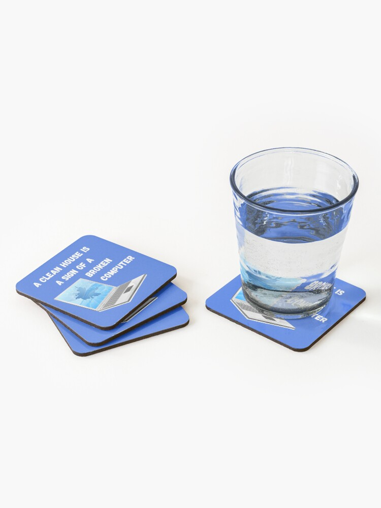 Alternate view of Broken Computer Cleaning Lady Gift Humor Coasters (Set of 4)