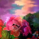 Painterly garden with Anemone flowers by walstraasart
