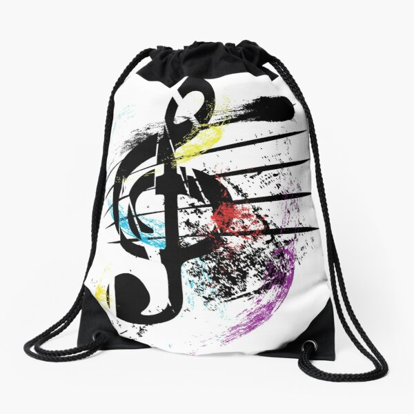 Abstract Musical Note- Paint Splatter Treble Cleft Drawstring Bag