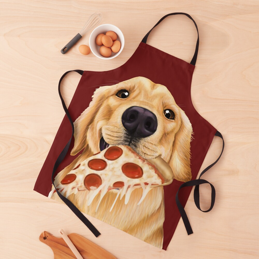 Golden Retriever eating pizza - dog with a slice of pizza Apron