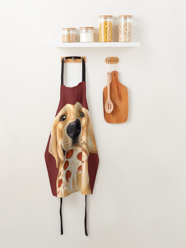 Alternate view of Golden Retriever eating pizza - dog with a slice of pizza Apron