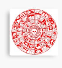 Skull Mandala in Red and White Canvas Print