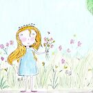 Little girl and flowers  by Marie Charrois