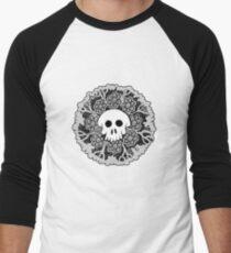Grey Scale Skull Mandala Men's Baseball ¾ T-Shirt