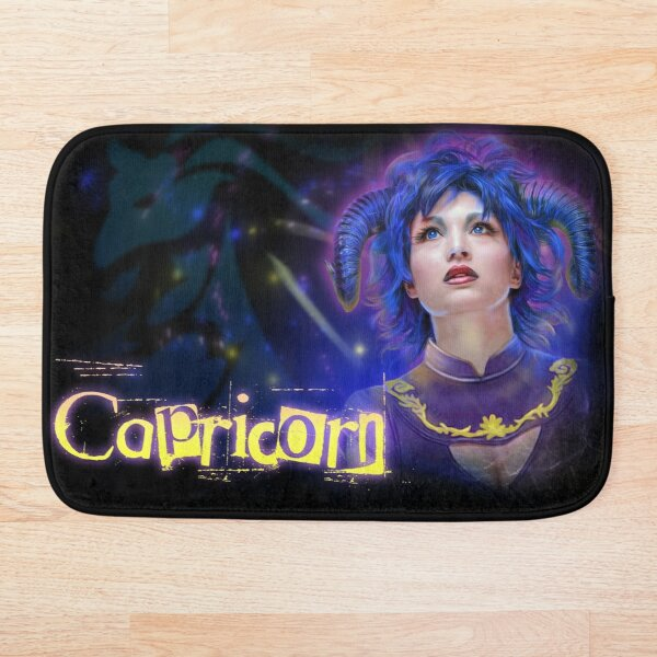 Zodiac Capricorn Symbol with Horned Woman from Astrology Bath Mat