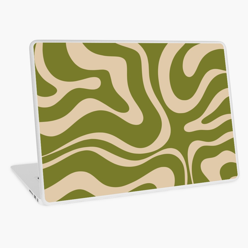 Modern Liquid Swirl Abstract Pattern in Mid Mod Olive Green and Beige Laptop Skin