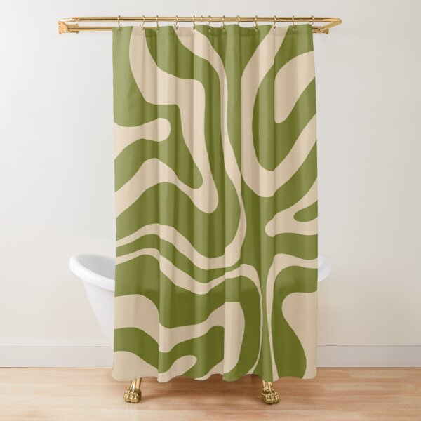 Modern Liquid Swirl Abstract Pattern in Mid Mod Olive Green and Beige Shower Curtain