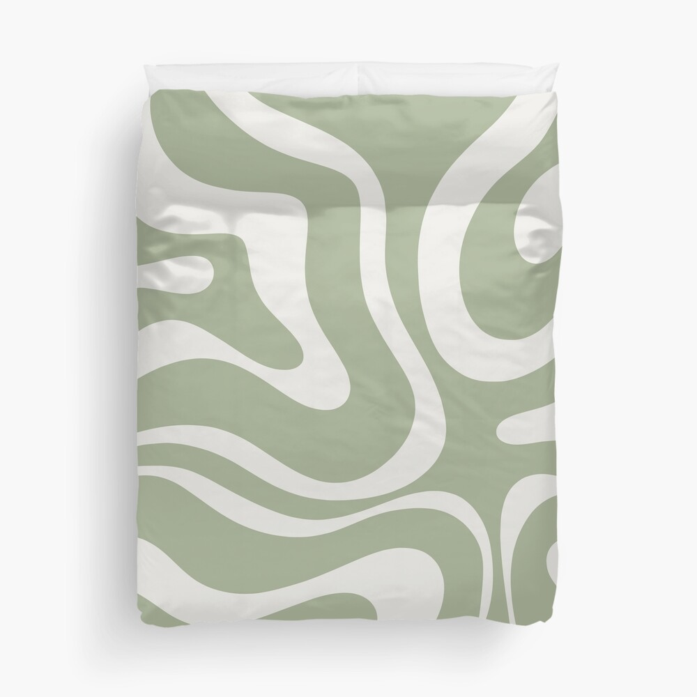 Liquid Swirl Abstract Pattern in Sage Green and Nearly White Duvet Cover