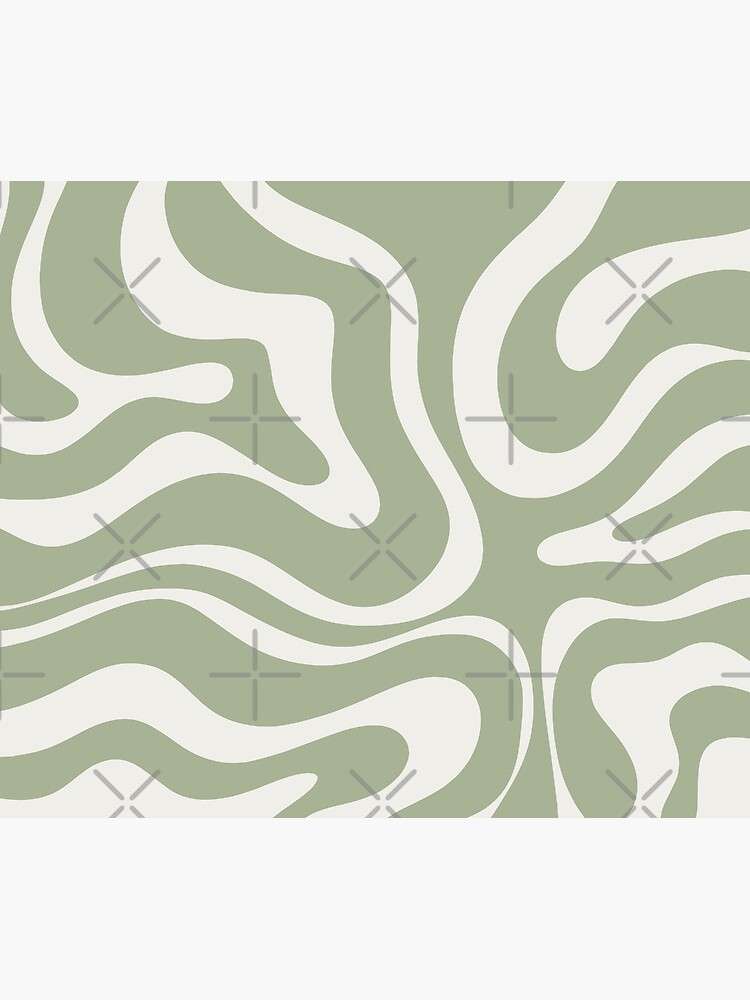 Liquid Swirl Abstract Pattern in Sage Green and Nearly White by kierkegaard