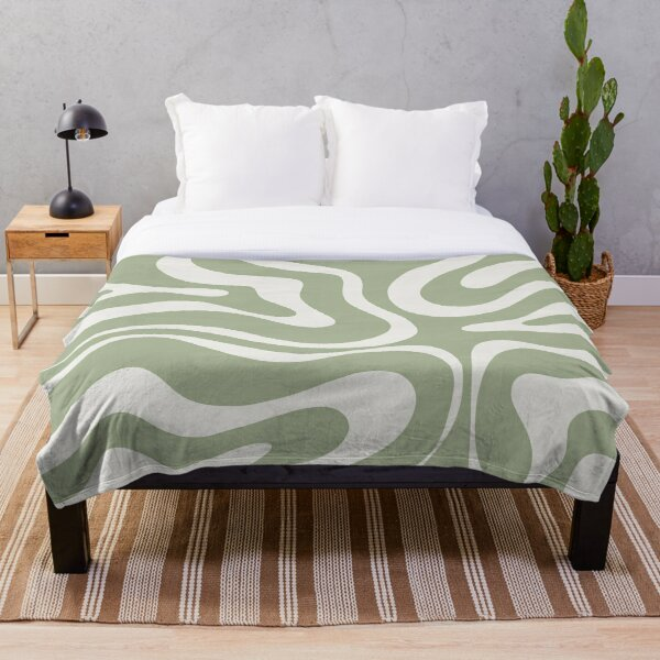 Liquid Swirl Abstract Pattern in Sage Green and Nearly White Throw Blanket