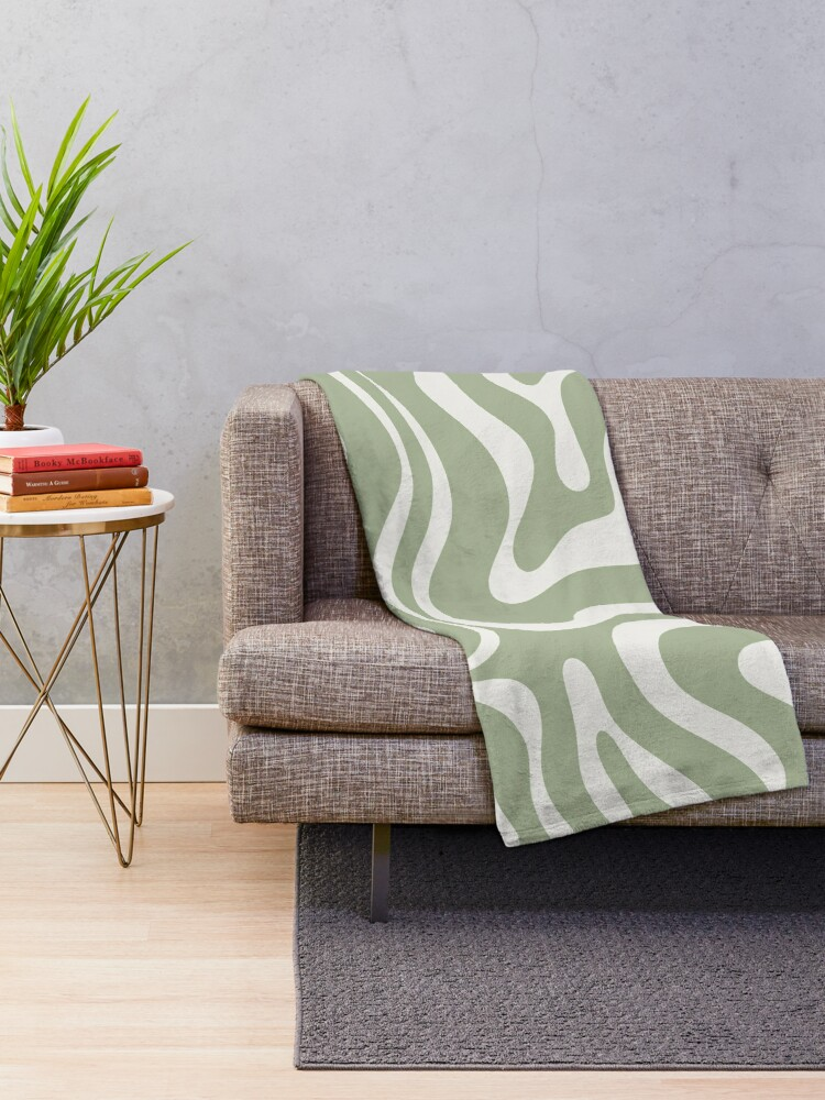 Alternate view of Liquid Swirl Abstract Pattern in Sage Green and Nearly White Throw Blanket