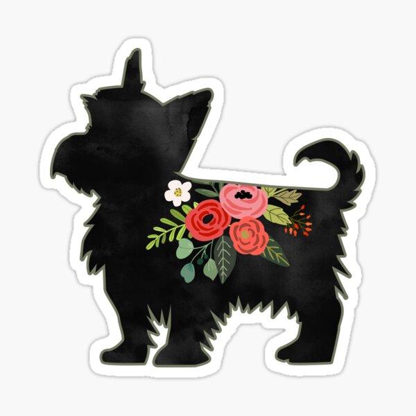 Yorkie Dog Breed Boho Floral Silhouette Sticker