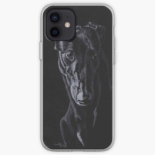 Black Greyhound Silhouette Colored pencil Drawing iPhone Soft Case