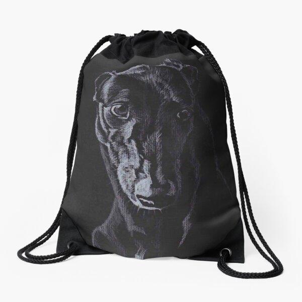 Black Greyhound Silhouette Colored pencil Drawing Drawstring Bag