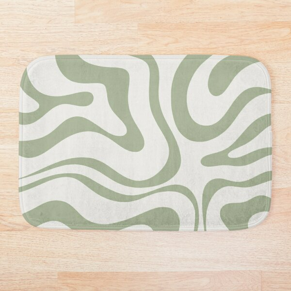 Modern Liquid Swirl Abstract Pattern in Sage Green Tones Bath Mat