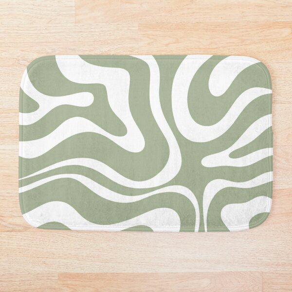 Liquid Swirl Abstract Pattern in Sage Green and White Bath Mat