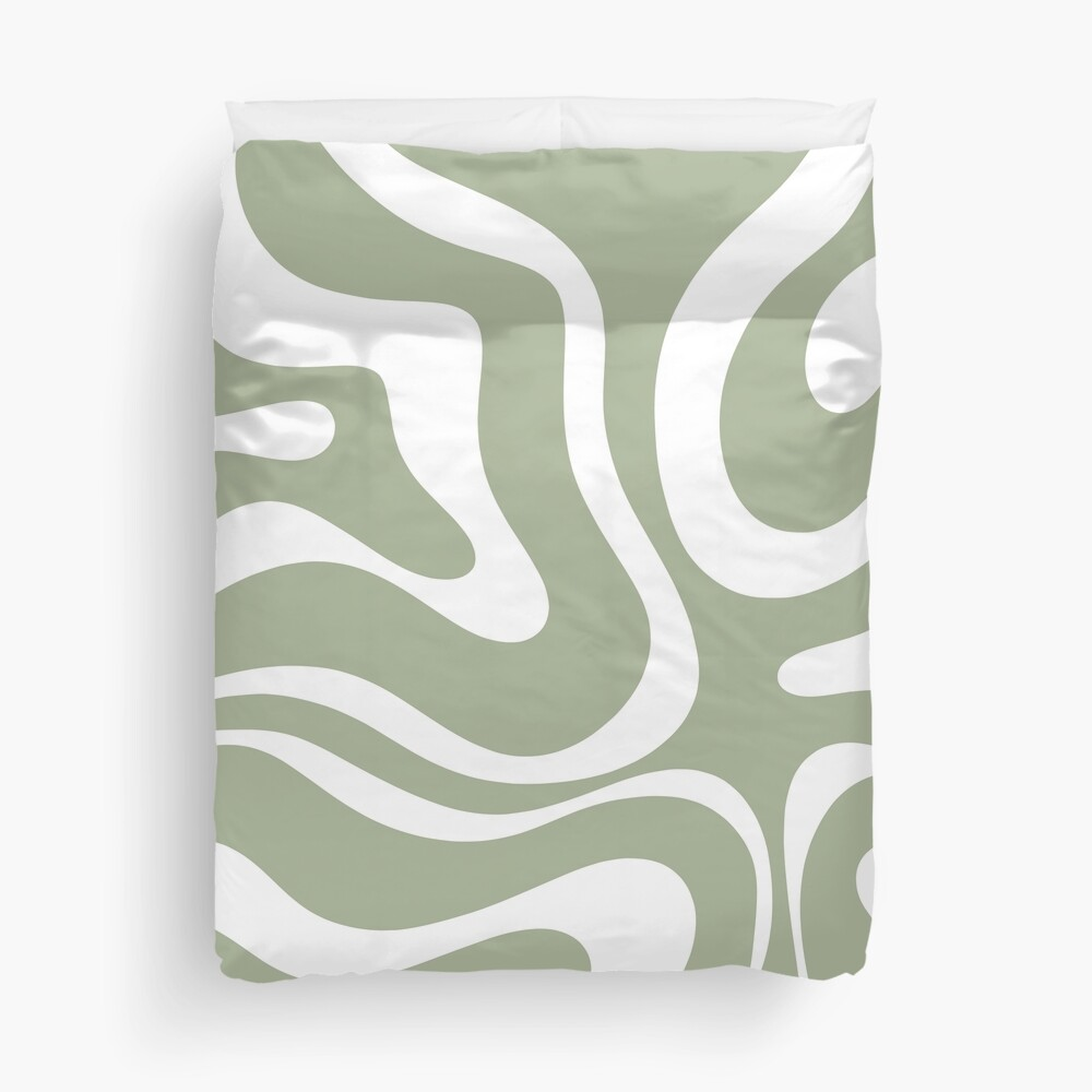 Liquid Swirl Abstract Pattern in Sage Green and White Duvet Cover