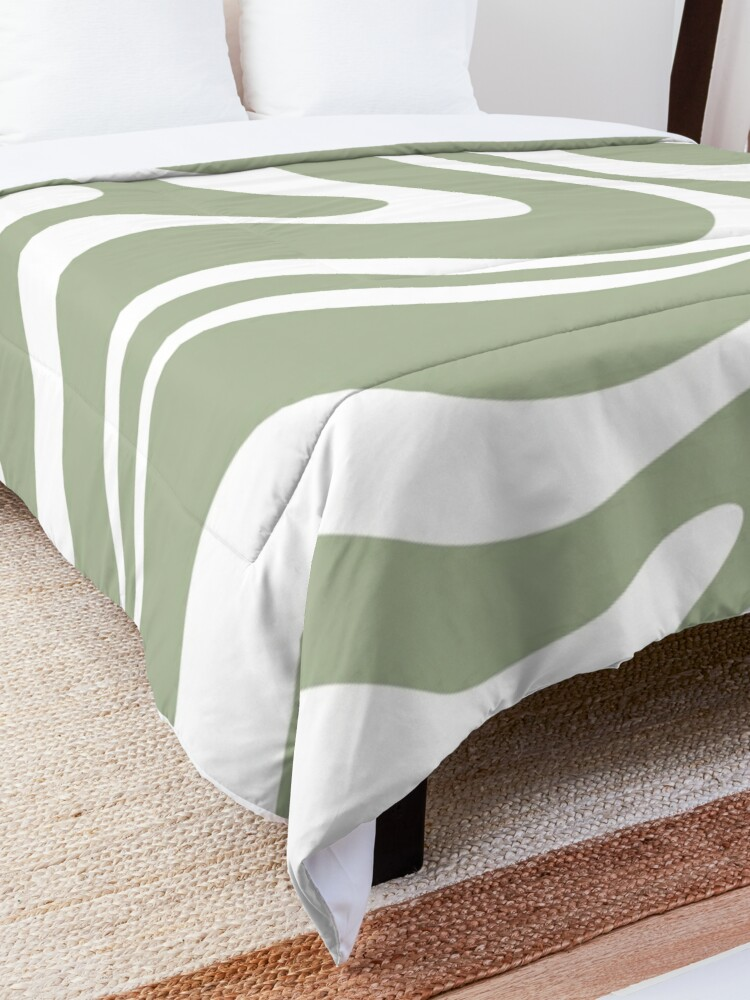 Alternate view of Liquid Swirl Abstract Pattern in Sage Green and White Comforter