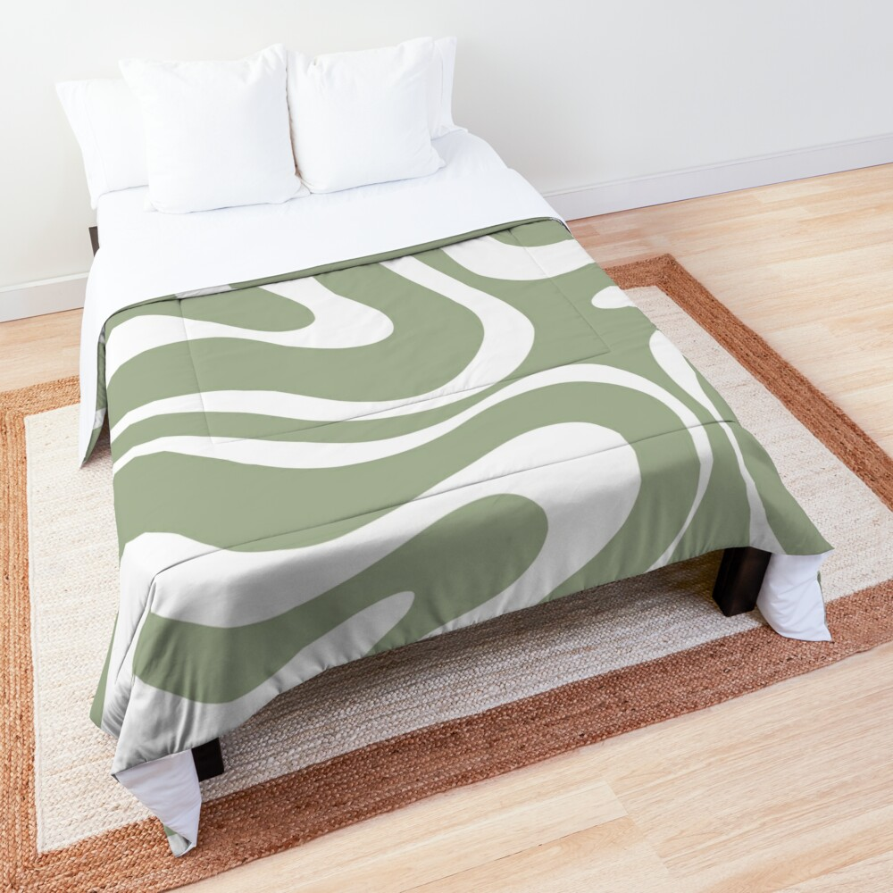 Liquid Swirl Abstract Pattern in Sage Green and White Comforter