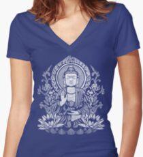 Siddhartha Gautama Buddha White Women's Fitted V-Neck T-Shirt
