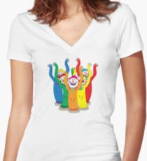 Weird & Wacky Waving Inflatable Arm Flailing Tube Man Women's Fitted V-Neck T-Shirt