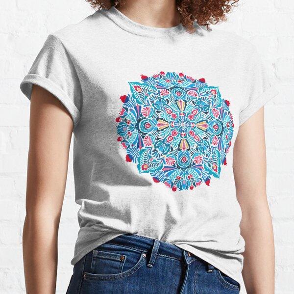 Pink, light blue springtime mandala on black Classic T-Shirt