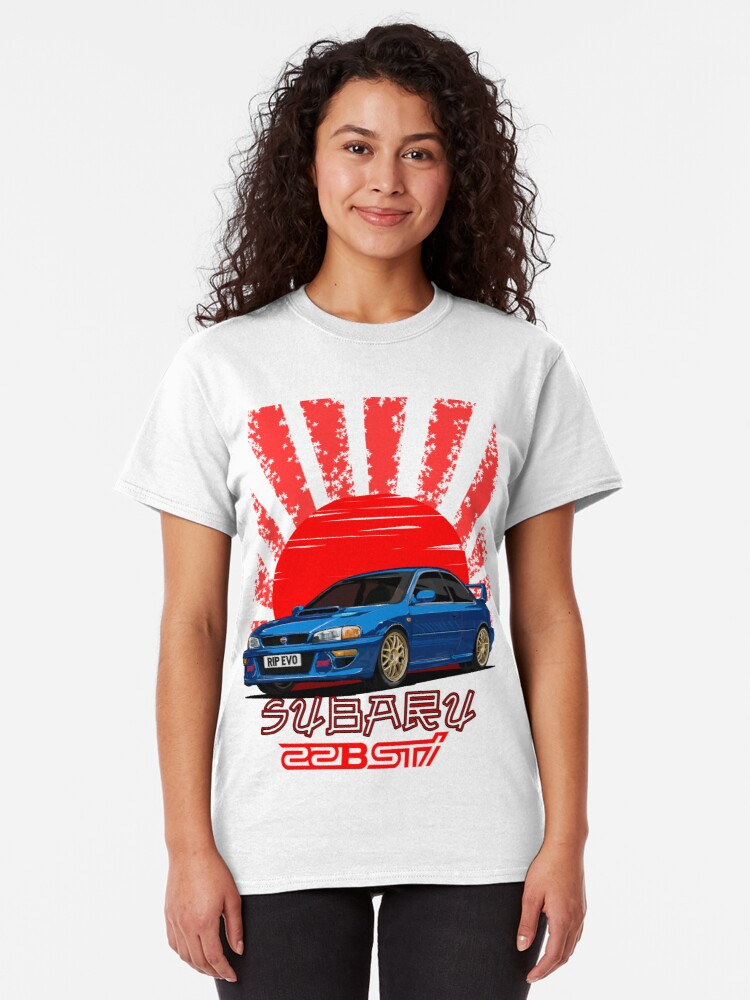 Vista alternativa de Camiseta clásica Subaru Impreza 22B WRX STI - RIP EVO (Azul)