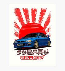 Lámina artística Subaru Impreza 22B WRX STI - RIP EVO (Azul)