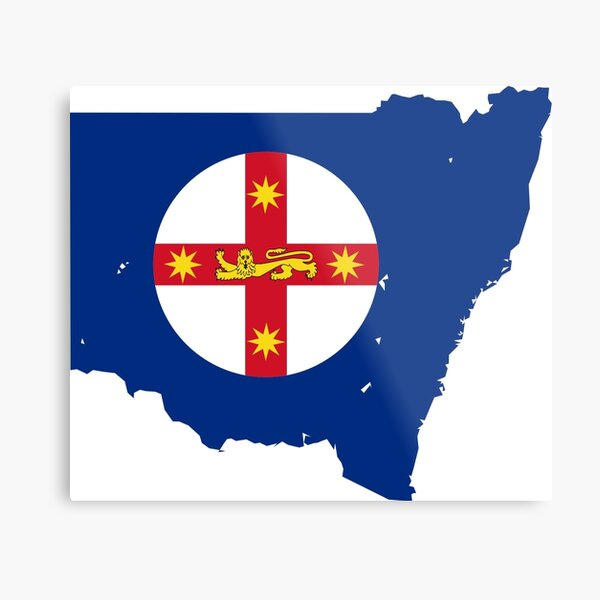 Flag Map of New South Wales  Metal Print